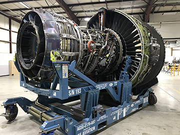 A Boeing 787 Dreamlinger engine pictured without it's covering. The engine was donated in fall of 2019 to Spokane Community College.