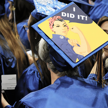 "Graduation cap with ""I did it"" written on it"