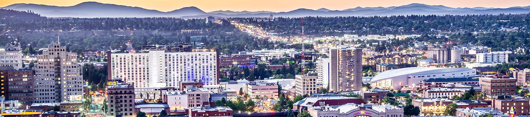 Downtown SPokane at dawn - aerial shot