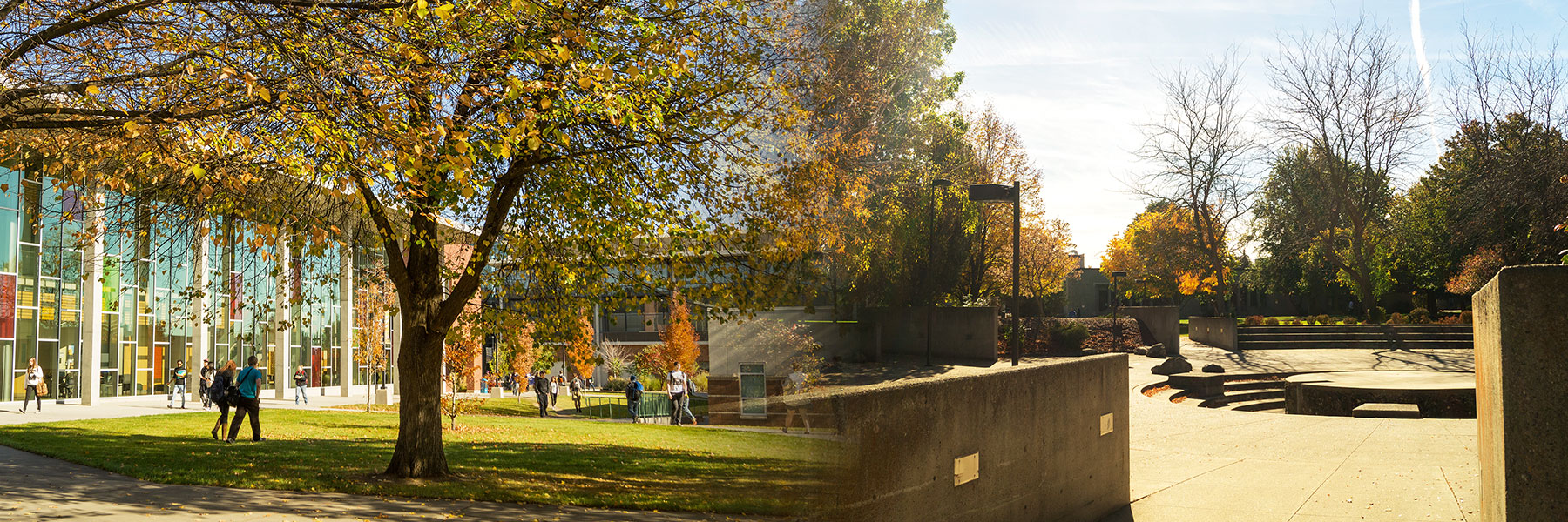 Outdoor shots of SFCC and SCC in fall, merging into one image.