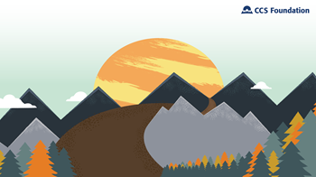 Graphic of trees, mountains, and a sunrise